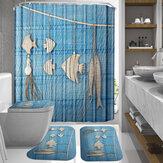 オーシャンスタイルの防水シャワーカーテン吊りシェル魚装飾浴室シャワーカーテントイレカバーマット滑り止め敷物セット