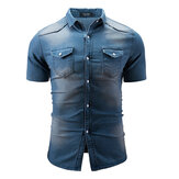 Mens Summer Short Sleeve Casual Fashion Fit Denim Shirts