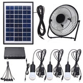 3 * 3W Solar Power Panel USB Charging LED Luz com kit de ventilador para Home Outdoor Camping