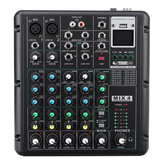 6 Channel bluetooth DJ HD Mic Audio Mixer Control LED Digital Display Music Stream with USB Interface