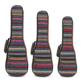 21 23 26 Inch Double Strap Hand Folk Canvas Ukulele Case Soft Gewatteerde Carry Protect Rugzak Cover Gig Bag