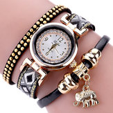 DUOYA XR1889 Fashion Gold Elephant Ladies Bracelet Watch