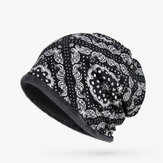 Women Vintage Multifunctional Print Cotton Beanie Hats Scarf