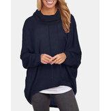 Női egyszínű hosszú ujjú, magas-alacsony szegélyű pulóveres pulóverek