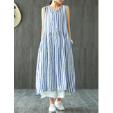 Wanita Tanpa Lengan Bergaris V-neck Sundress Retro Long Maxi Dress