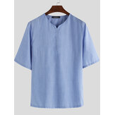 Men's Summer V-Neck Linen T-shirts Short Sleeve Breathable Loose Tops Soft Shirt