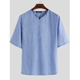 メンズサマーVネックリネンTシャツ半袖通気性ルーズトップSoftシャツ
