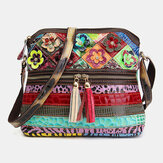 Women Floral Vintage Genuine Leather Crossbody Bag