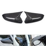 Capuchons de couverture de rétroviseur latéral de style de corne de couleur de fibre de carbone pour Honda Civic 2016-2018