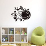 Honana 3D Removable Vinyl Wall Sticker Basketball Busting Through Wall Decal PVC Art Decor For Basket Fans & Boys Bedroom Decoration