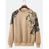 Mens Chinese Style Paper-Cutting Art Print Long Raglan Sleeve Ethnic Sweatshirts
