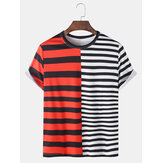 Stripe Print Solid Patchwork Short Sleeve Casual T-Shirts