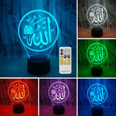 3D Colorful Night Lamp lighting light Religious Islam Allah Acrylic Home Desk Decorations