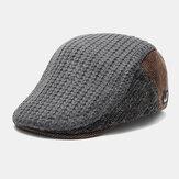 Costura de tecido de malha masculina moda retrô manter-se aquecido no outono e no inverno Boina de malha plana Chapéu
