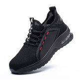 Chaussures de travail pour hommes Chaussures de course anti-écrasement à embout en acier Baskets de jogging