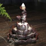 Ceramiczny Lotos Staw Waterfall Zrzut dymu Stożek kadzielnicy Uchwyt kadzidełka + 10 stożków