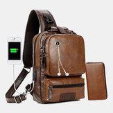 Mężczyźni PU Leather Vintage Wielofunkcyjny otwór na słuchawki USB Ładowania Crossbody Torba Torba na klatkę piersiową Torba na ramię