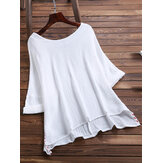 Women Brief O-neck Side Split Cotton Blouse