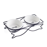 Ceramic Pet Bowl for Food and Water Bowls Pet Feeders Double Bowls Set Fish Shape Metal Stand