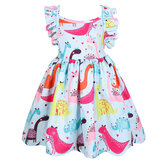 Letnia odzież Bawełniana bawełniana sukienka bez rękawów dla dziewczynek z nadrukowanym dinozaurem
