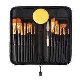 15PCS Nylon Capelli Artist Paint Spazzole Set di spugne per palette con custodia acrilica per acquerelli Olio per pittura