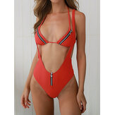 Women Solid Color Zipper String Backless Swimwear