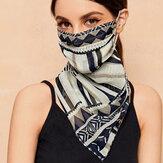 Femmes en mousseline de soie motifs géométriques protection du cou multifonction pare-soleil anti-UV foulard masque