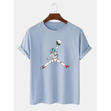 Astronaut Cartoon Print Crew Neck korte ærmer T-shirts