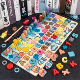7 EM 1 Multi-Forma De Madeira Colorful Puzzle Engraçado Pesca Brinquedo Educação Infantil para Crianças Presente de Aniversário