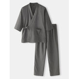 Cotton Mens Solid Color  Japanese Style Kimono Bathrobes Home Pajama Set