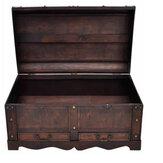 KCASA fait à la main Antique coffre au trésor boîte de rangement coffre Vintage en bois organisateur de rangement cas