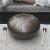 10'' Steel Tongue Drum 11 Notes Handpan Drum Tankdrum Instrument + Bag & Mallets