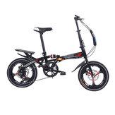 16 بوصة 6 سرعات قابلة للطي دراجة الألومنيوم خفيفة الوزن قابلة للطي دراجة صغيرة مزدوجة مكابح قرصية الطلاب الكبار الحضري ركاب دراجة