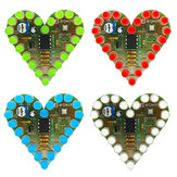 EQKIT® Heart Shaped Light Kit DIY LED Flash Breathing Light Parts Red Green Blue White Color Optional