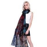 Flor da flor do lenço da queda do inverno das mulheres impressa xaile elegante