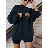 Women Letter Print Pullover Long Sleeve Simple Fashion Sweatshirts