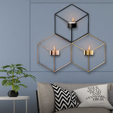 3D Geometric Nordic Style Candle Holder Iron Candlestick Handmade Wall Art Room Home Decor