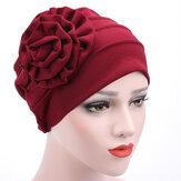 Mulheres Flor Algodão Quente Gorro Cap Muçulmano Casual Chapéu