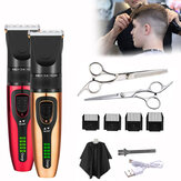USB Charging Non-waterproof LCD Hair Clipper With 4 Push Heads 1 Flat Shears 1 Tooth Shears 1 Haircut Cloth