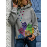 Women Cartoon Cat Print Long Sleeved Loose Casual Hoodie