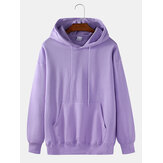 Mens Solid Color Basic Cotton Relaxed Fit Drawstring Hoodies With Kangaroo Pocket