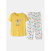 Plus Size Women Funny Cartoon Animal Alpaca Print Short Sleeve Softies Home Pajama Set