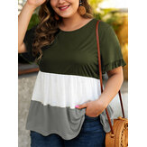 Plus Size Women Hit Color Patchwork Ruffle Sleeve Daily Causal Blouse