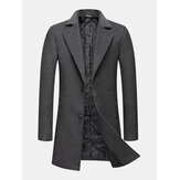 Mens Woolen Single-Breasted Lapel Pocket Mid-Length Warm Trench Coats