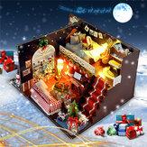T-Yu DIY Kits Kerst Huis Decoratie Miniatuur Houten Poppenhuis Meubels Model Assembleren