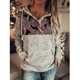 Women Ethnic Style Print Gypsy Patchwork Half Button Up Fleece Pullover Hoodie