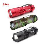 3Pcs3ColorsMECOQ5500LMMulticolor Zoomable Mini LED Фонарик 14500 / AA