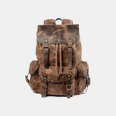Men Vintage Canvas Leather Backpack Travel Bag Camping Bag