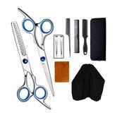 10pcs Hair Cutting Scissors Thinning Shears Comb Clips Cape Hair Trimmer