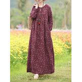 Damska kwiecista sukienka z dekoltem w szpic z długim rękawem w stylu boho z kieszenią